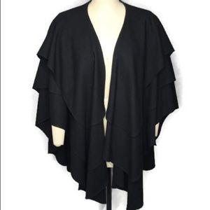 Cache Wrap Cape EUC 100% Wool Black one size